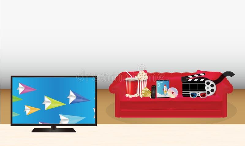 Smart TV con los vidrios remotos de la máscara 3d de la emoción del boleto del disco de la película de la palomitas de maíz del D ilustración del vector