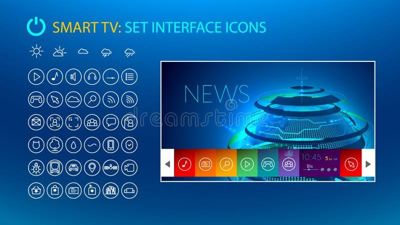 Smart TV Fije los iconos para el interfaz elegante de la TV ilustración del vector