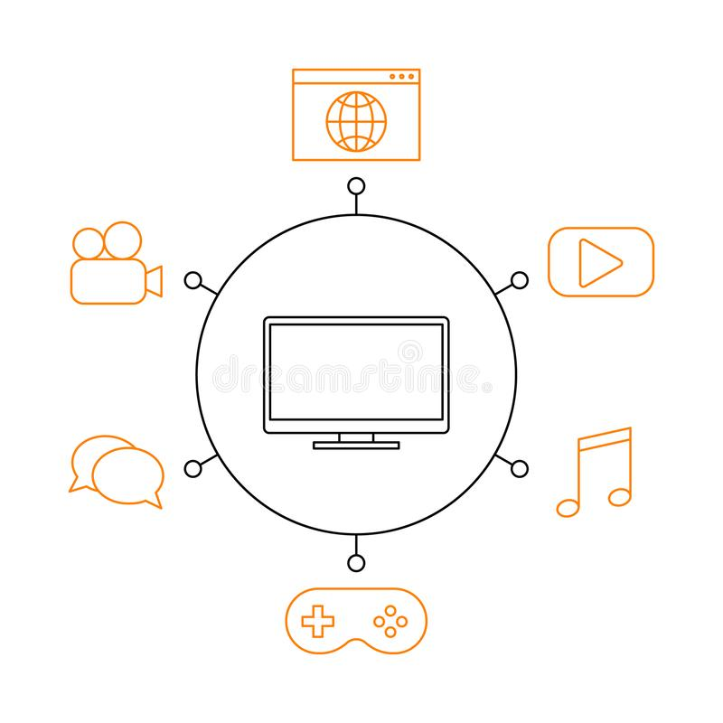 Smart TV, smart home, iot flat. Vector illustration. Concept of the Internet of things, elements of a smart home. Smart and modern TV functions stock illustration