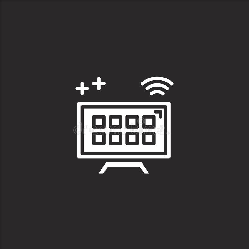 Smart tv icon. Filled smart tv icon for website design and mobile, app development. smart tv icon from filled smart technology. Collection isolated on black royalty free illustration