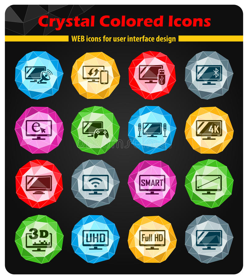 Smart tv icon set. Smart tv crystal color icons for your design royalty free illustration