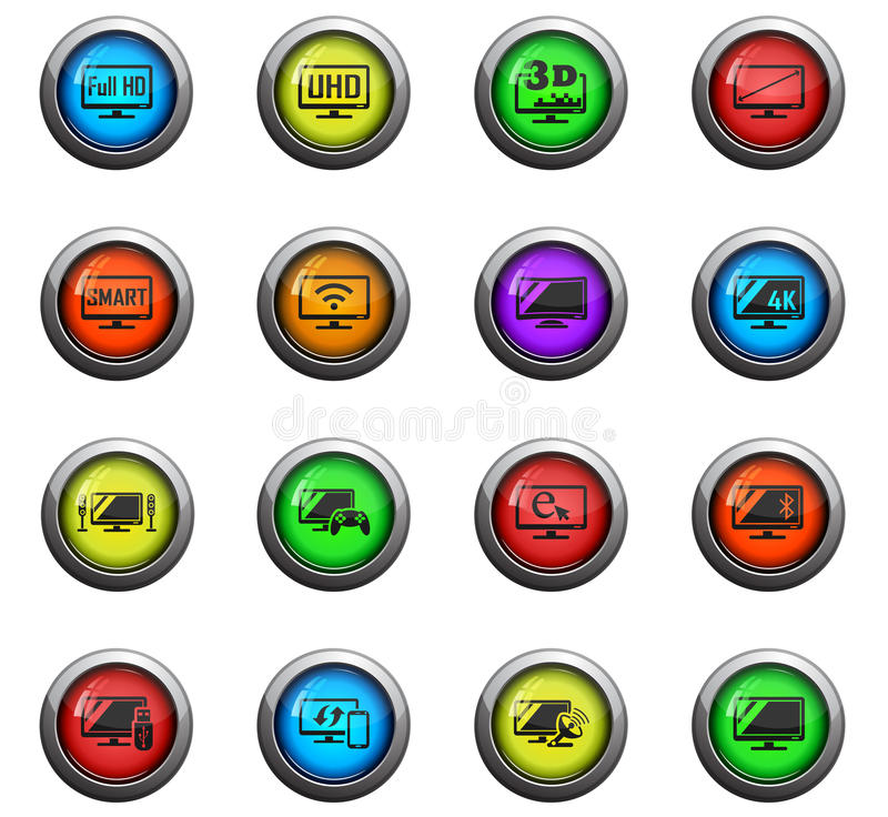 Smart tv icon set. Smart tv icons on color round glass buttons for your design stock illustration