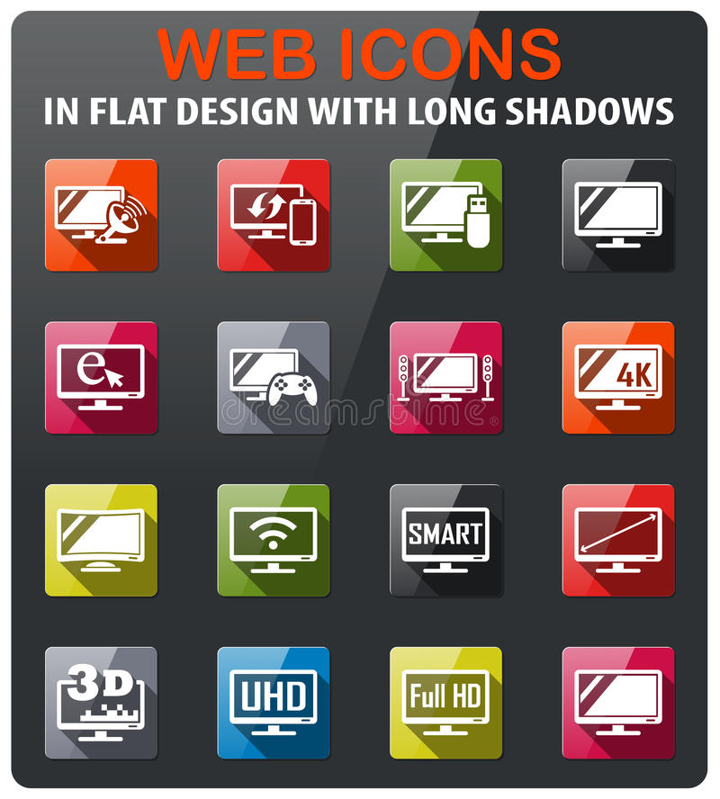 Smart tv icon set. Smart tv icons set in flat design with long shadow vector illustration