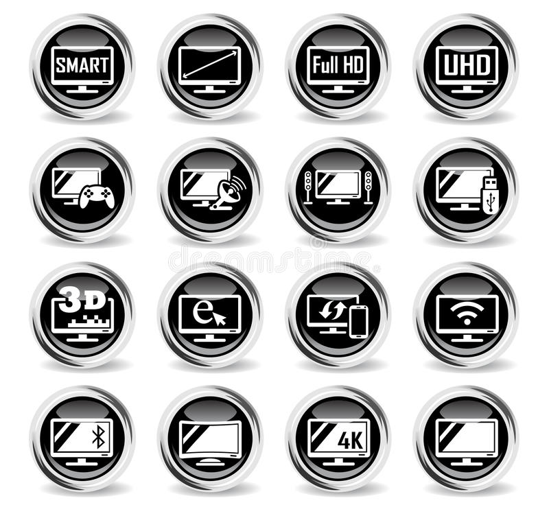 Smart tv icon set. Smart tv icons on stylish round chromed buttons vector illustration