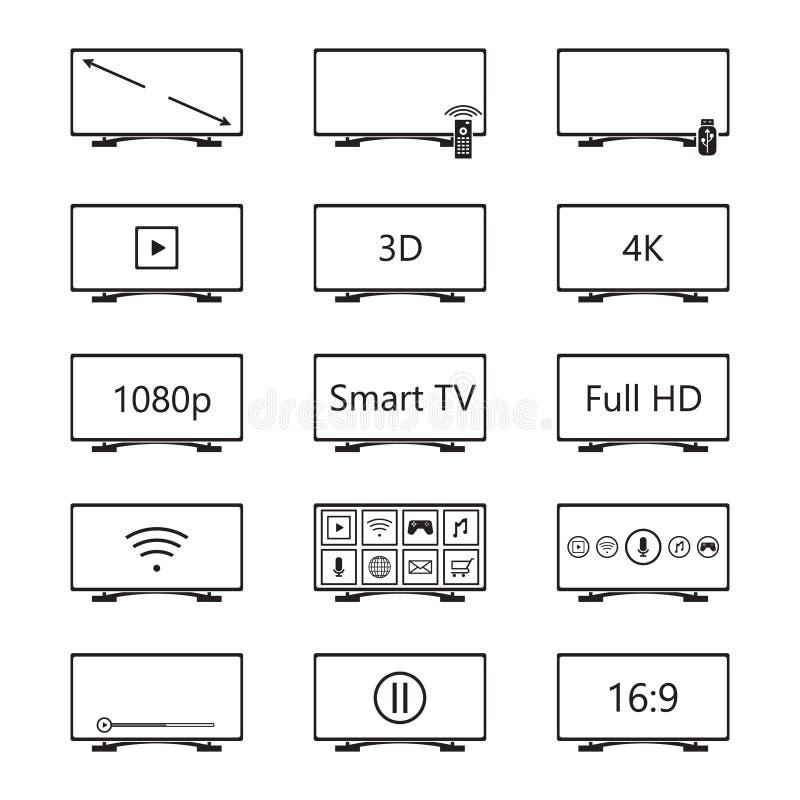 Smart TV icon set. Vector. Eps10 royalty free illustration