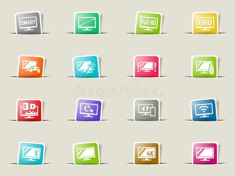 Smart tv icon set. Smart tv web icons on color paper bookmarks royalty free illustration