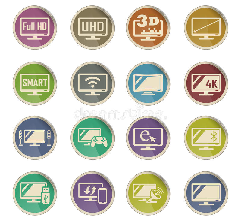 Smart tv icon set. Smart tv web icons on color paper labels stock illustration