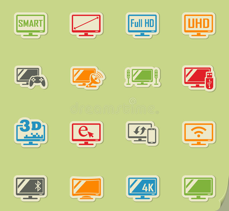 Smart tv icon set. Smart tv web icons on color paper stickers for user interface vector illustration