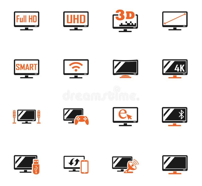 Smart tv icon set. Smart tv web icons for user interface design royalty free illustration