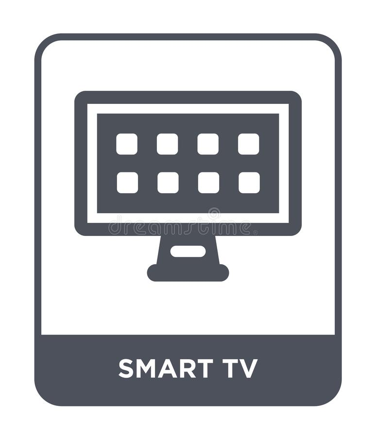 Smart tv icon in trendy design style. smart tv icon isolated on white background. smart tv vector icon simple and modern flat. Symbol for web site, mobile, logo stock illustration