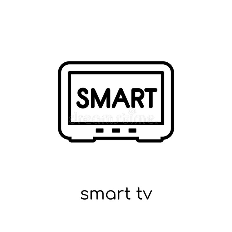Smart tv icon. Trendy modern flat linear vector Smart tv icon on. White background from thin line smart home collection, editable outline stroke vector stock illustration
