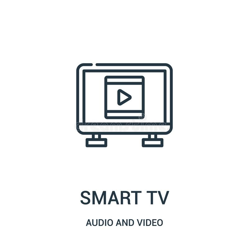 Smart tv icon vector from audio and video collection. Thin line smart tv outline icon vector illustration. Linear symbol for use on web and mobile apps, logo stock illustration