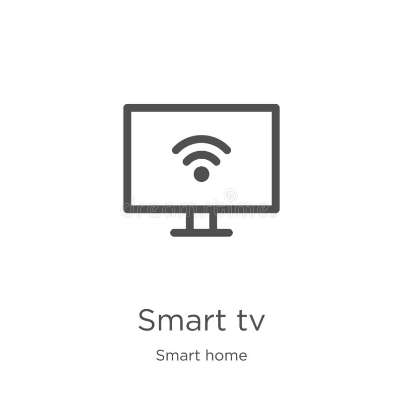 Smart tv icon vector from smart home collection. Thin line smart tv outline icon vector illustration. Outline, thin line smart tv. Smart tv icon. Element of vector illustration