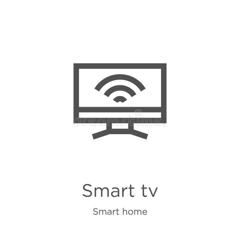 Smart tv icon vector from smart home collection. Thin line smart tv outline icon vector illustration. Outline, thin line smart tv. Smart tv icon. Element of royalty free illustration