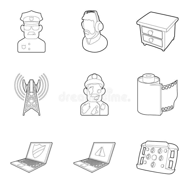 Smart tv icons set, outline style stock illustration