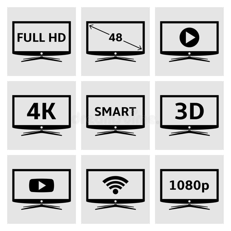 Smart TV icons set vector illustration