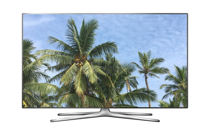 Smart tv with palm trees against blue sky image stock images