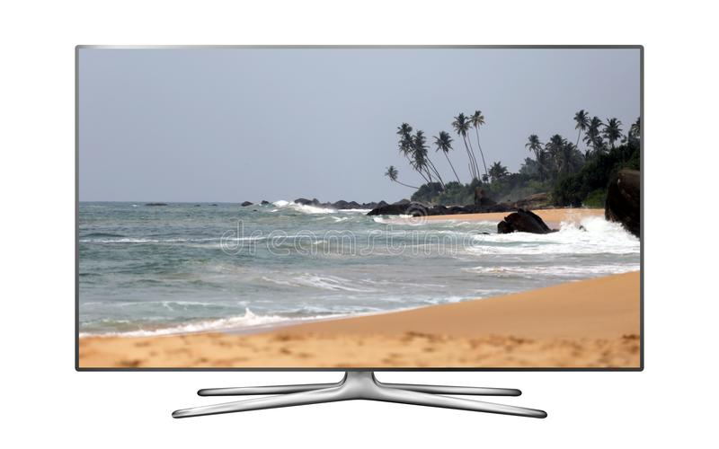 Smart TV with tropical beach on screen stock photos