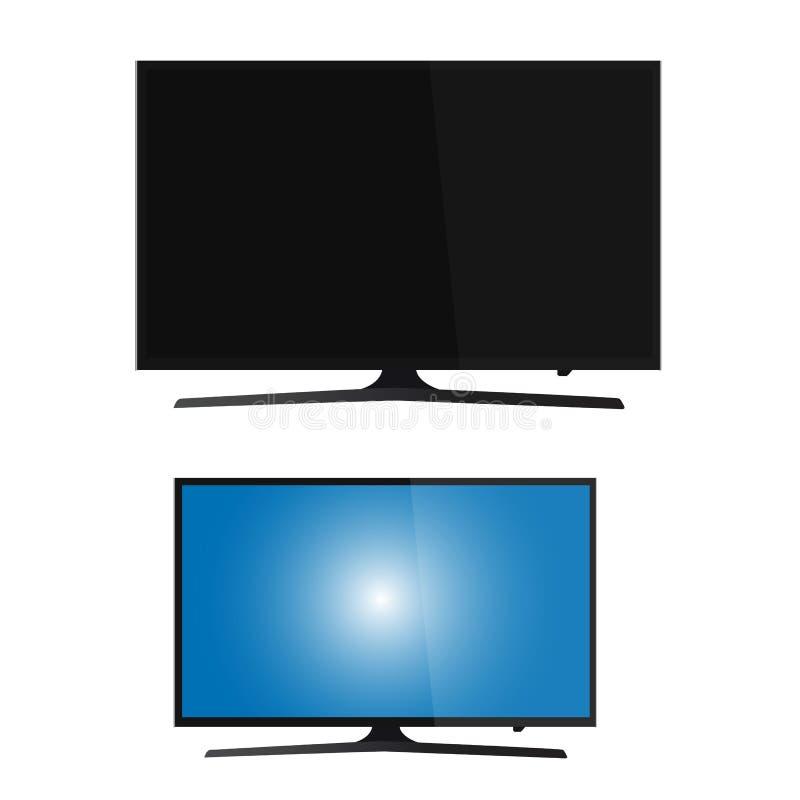 Smart tv led monitor isolated on white background. Smart tv led monitor isolated on a background stock illustration