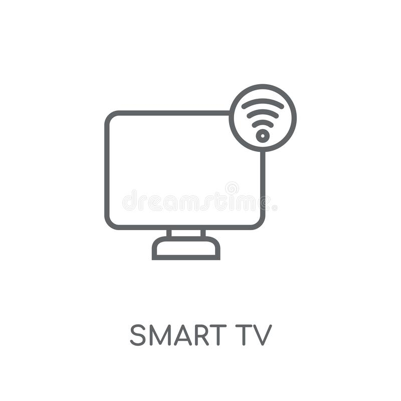 Smart tv linear icon. Modern outline Smart tv logo concept on wh. Ite background from Smarthome collection. Suitable for use on web apps, mobile apps and print royalty free illustration