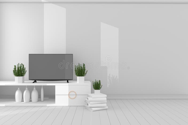 Smart Tv - Mock up - concept living room white style - white modern design . 3d rendering. Mock up Smart Tv - Mock up - concept living room white style - white stock illustration