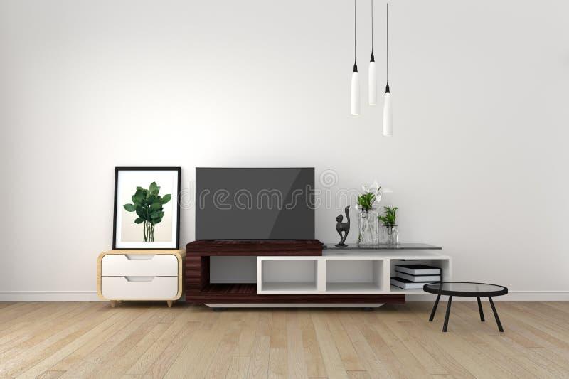 Smart TV Mock-up on empty room, living room tropical style. 3D rendering. Mock up Smart TV Mock-up on empty room, living room tropical style. 3D rendering vector illustration
