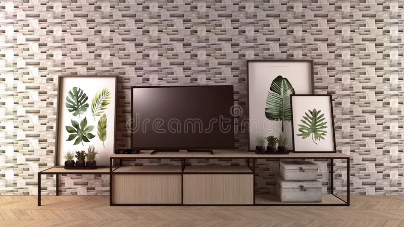 Smart Tv Mock-up on empty room, rock tiles wall in modern empty interior. 3d rendering. Mock up Smart Tv Mock-up on empty room, rock tiles wall in modern empty stock illustration