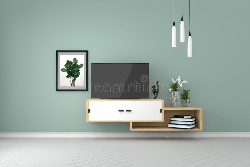 Smart Tv Mock-up on green wall in modern tropical interior. 3d rendering. Mock up Smart Tv Mock-up on green wall in modern tropical interior. 3d rendering stock illustration