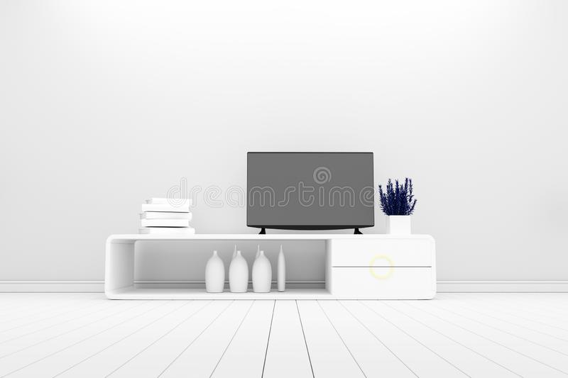 Smart TV - Mock up on white living room. 3d rendering. Mock up Smart TV - Mock up on white living room. 3d rendering royalty free illustration