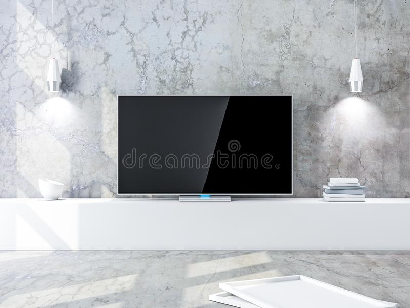 Smart Tv Mockup with black screen, modern living room with concrete walls. 3d rendering vector illustration