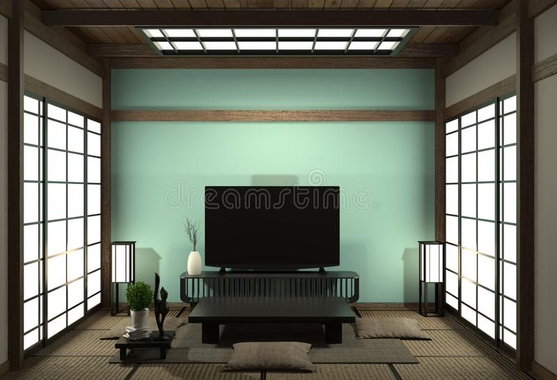 Smart Tv Mockup with blank black screen hanging on the cabinet decor, modern light blue living room japanese style. 3d rendering. Mock up room interior zen vector illustration
