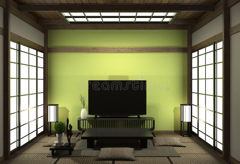 Smart Tv Mockup with blank black screen hanging on the cabinet decor, modern light green living room japanese style. 3d rendering. Mock up room interior zen vector illustration