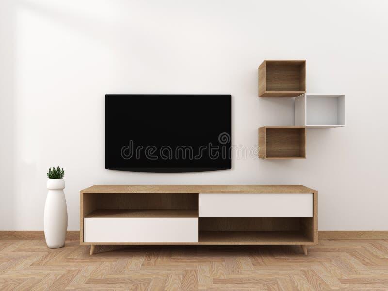 Smart Tv Mockup with blank black screen hanging on the cabinet decor, modern living room zen style. 3d rendering. Mock up Smart Tv Mockup with blank black screen royalty free illustration