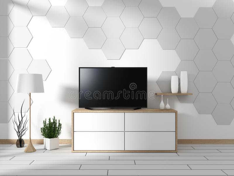 Mock up Smart Tv Mockup with blank black screen hanging on the cabinet decor, modern living room zen style. 3d rendering. Smart Tv Mockup with blank black screen stock illustration