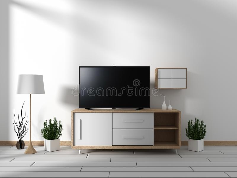 Mock up Smart Tv Mockup with blank black screen hanging on the cabinet decor, modern living room zen style. 3d rendering. Smart Tv Mockup with blank black screen vector illustration