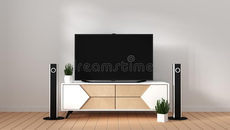 Mock up Smart Tv Mockup with blank black screen hanging on the cabinet decor, modern living room zen style. 3d rendering. Smart Tv Mockup with blank black screen royalty free illustration