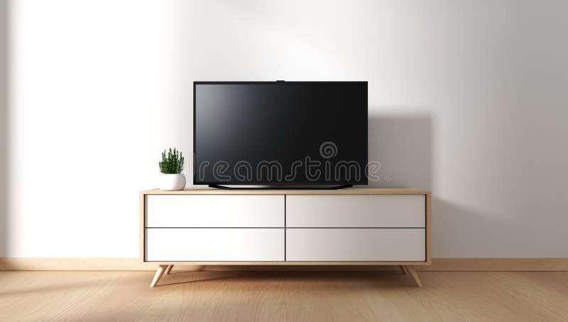 Mock up Smart Tv Mockup with blank black screen hanging on the cabinet decor, modern living room zen style. 3d rendering. Smart Tv Mockup with blank black screen stock illustration