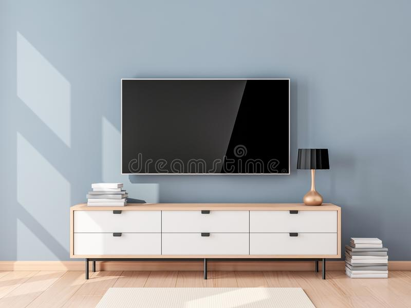 Smart Tv Mockup with blank screen hanging on the wall in modern living room vector illustration