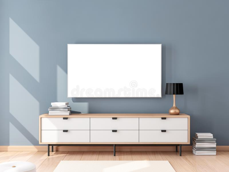 Smart Tv Mockup hanging on the wall, living room with bureau. 3d rendering royalty free illustration