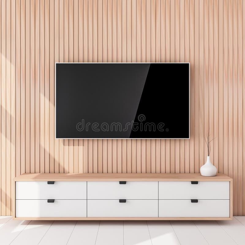 Smart Tv Mockup hanging on the wooden wall, living room. 3d rendering royalty free illustration