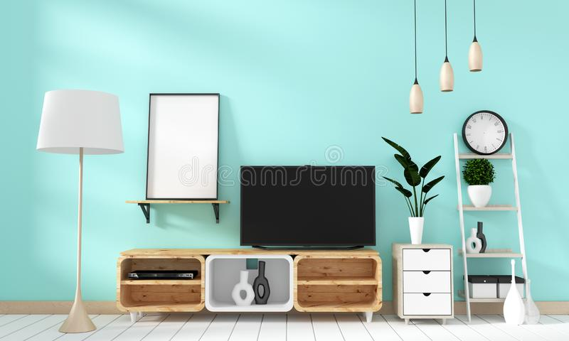 Mock up Smart Tv Mockup on mint wall in japanese living room. 3d rendering. Smart Tv Mockup on mint wall in japanese living room. 3d rendering royalty free illustration