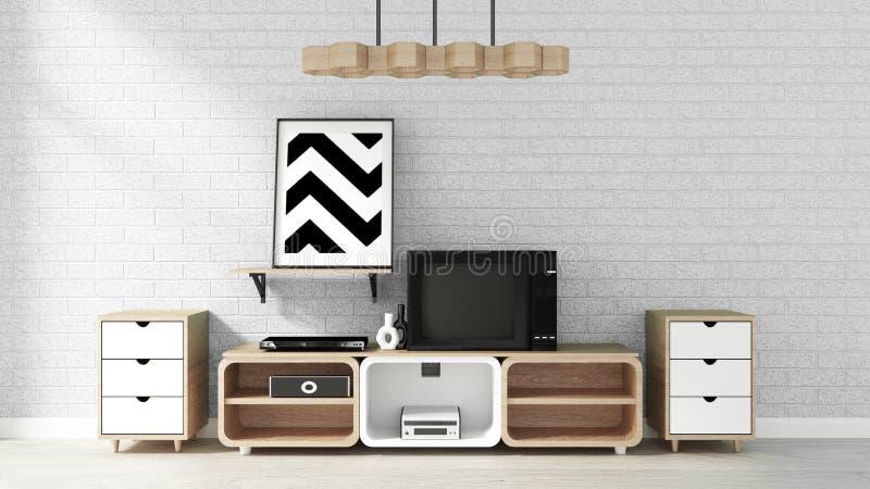 Mock up Smart Tv Mockup modern living room zen style. 3d rendering. Smart Tv Mockup modern living room zen style. 3d rendering royalty free illustration