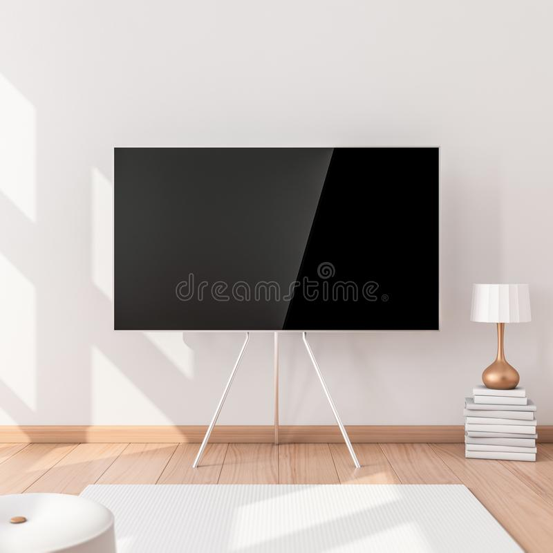 Smart Tv Mockup with stand in modern interior. 3d rendering vector illustration
