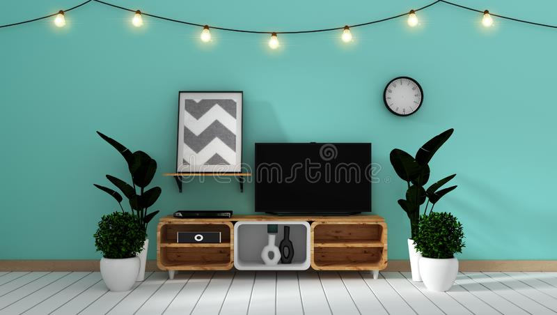 Mock up Smart Tv Mockup on white wall in japanese living room. 3d rendering. Smart Tv Mockup on white wall in japanese living room. 3d rendering vector illustration