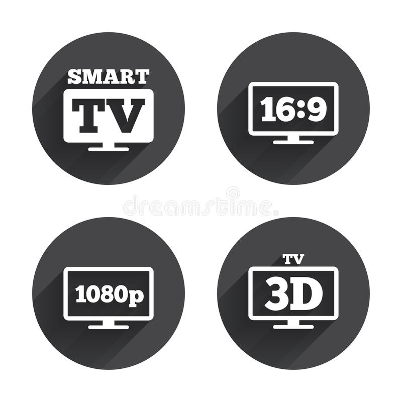 Smart TV mode icon. 3D Television symbol. Smart TV mode icon. Aspect ratio 16:9 widescreen symbol. Full hd 1080p resolution. 3D Television sign. Circles buttons vector illustration