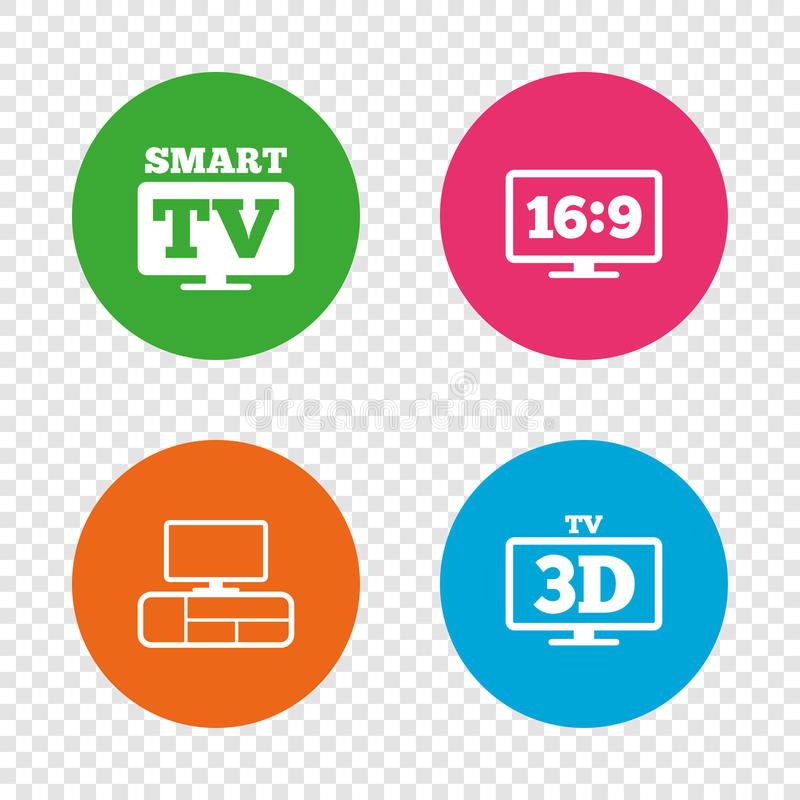Smart TV mode icon. 3D Television symbol. Smart TV mode icon. Aspect ratio 16:9 widescreen symbol. 3D Television and TV table signs. Round buttons on royalty free illustration