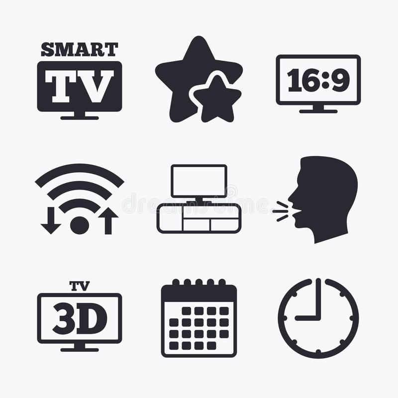 Smart TV mode icon. 3D Television symbol. Smart TV mode icon. Aspect ratio 16:9 widescreen symbol. 3D Television and TV table signs. Wifi internet, favorite vector illustration