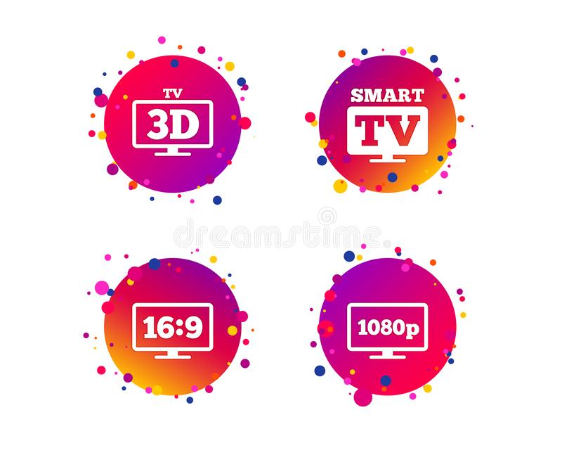 Smart TV mode icon. 3D Television symbol. Vector. Smart TV mode icon. Aspect ratio 16:9 widescreen symbol. Full hd 1080p resolution. 3D Television sign. Gradient stock illustration