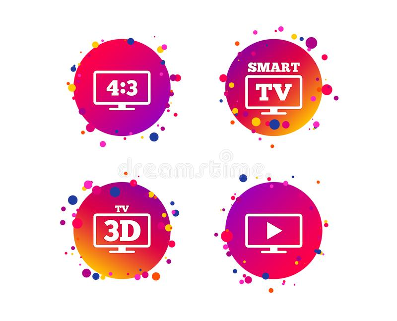 Smart TV mode icon. 3D Television symbol. Vector. Smart TV mode icon. Aspect ratio 4:3 widescreen symbol. 3D Television sign. Gradient circle buttons with icons vector illustration