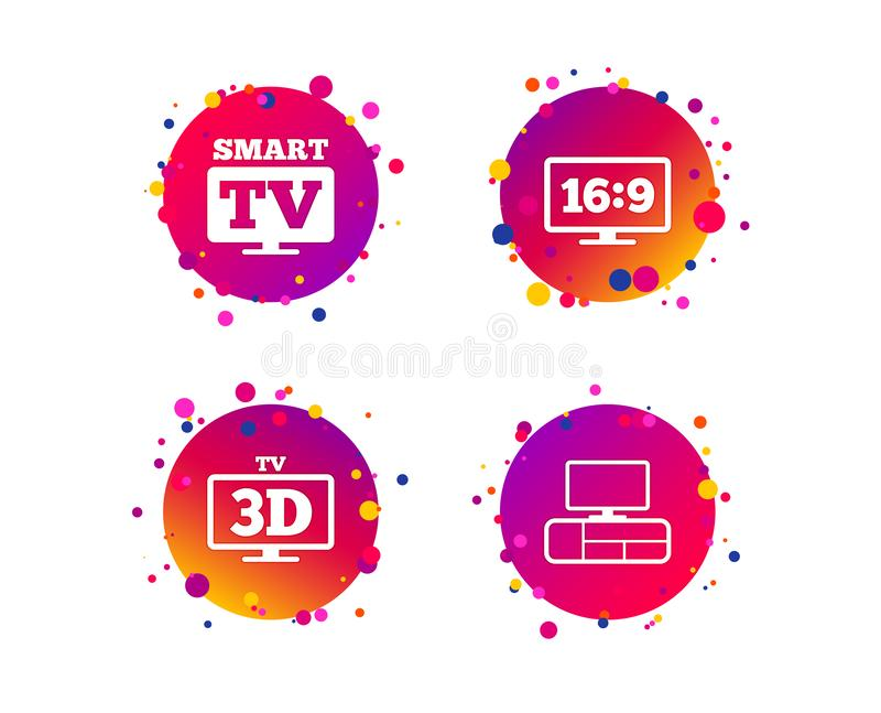 Smart TV mode icon. 3D Television symbol. Vector. Smart TV mode icon. Aspect ratio 16:9 widescreen symbol. 3D Television and TV table signs. Gradient circle stock illustration